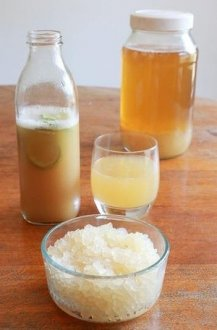 Culture club: Home-made fermented ginger and lime water kefir made from kefir grains.
