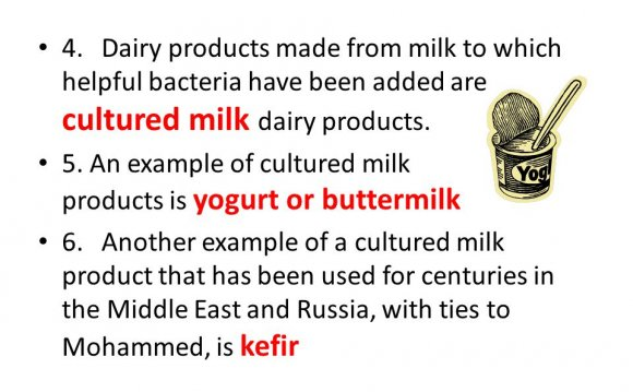 Dairy products made from milk